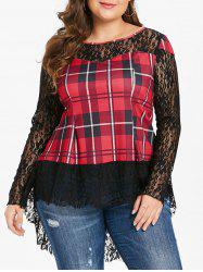 Tartan Print Plus Size Lace Long Sleeve T-shirt -