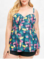 Sweetheart Neck Birds Print Plus Size Tankini Set -