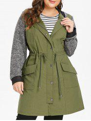 Plus Size Longline Hooded Coat with Drawstring Waist -