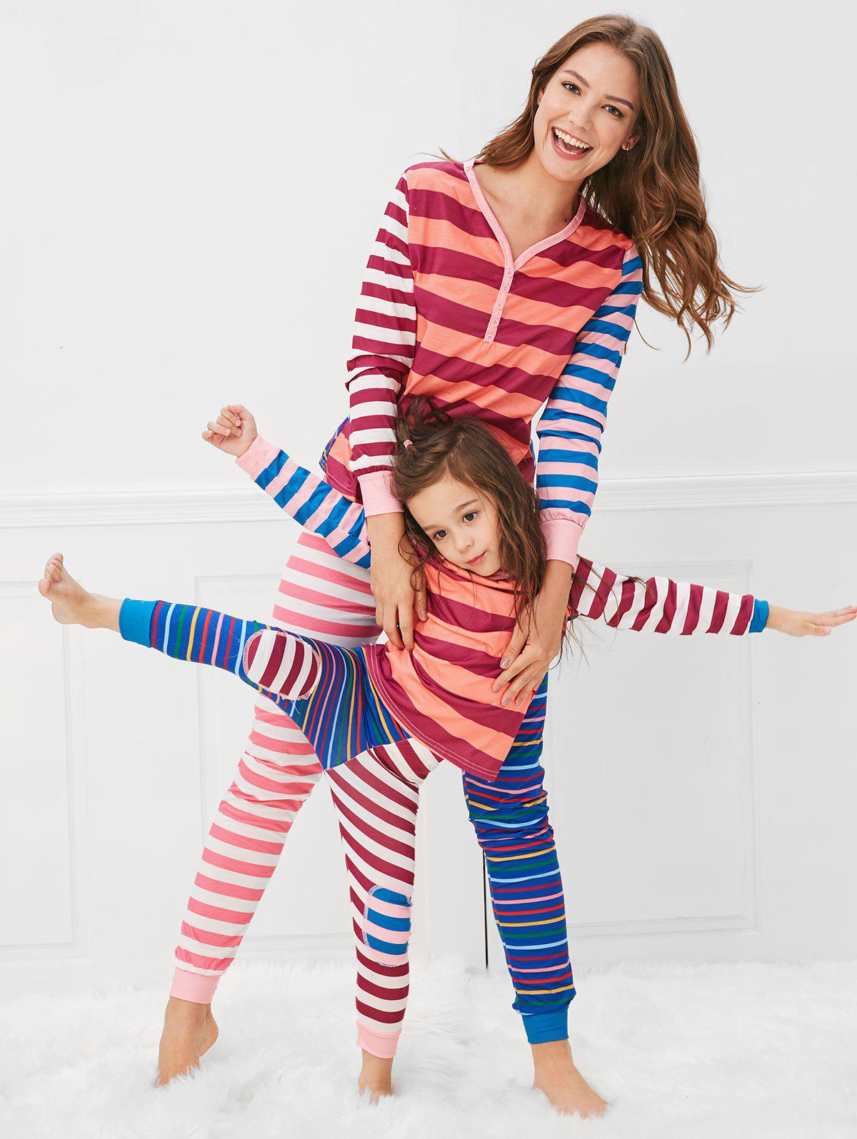 Online Christmas Contrast Striped Print Mom Kids Pajama Set