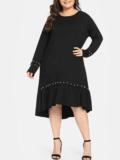 Affordable Plus Size Flounce High Low Midi Dress