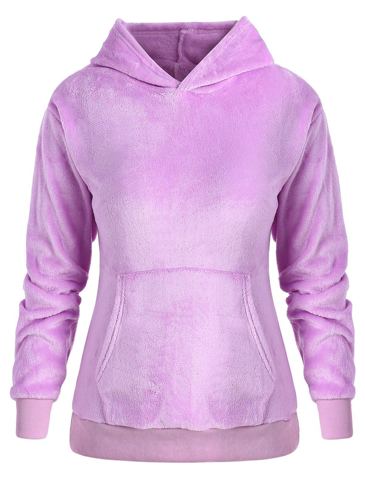 Fashion Plus Size Pullover Fluffy Hoodie with Pocket