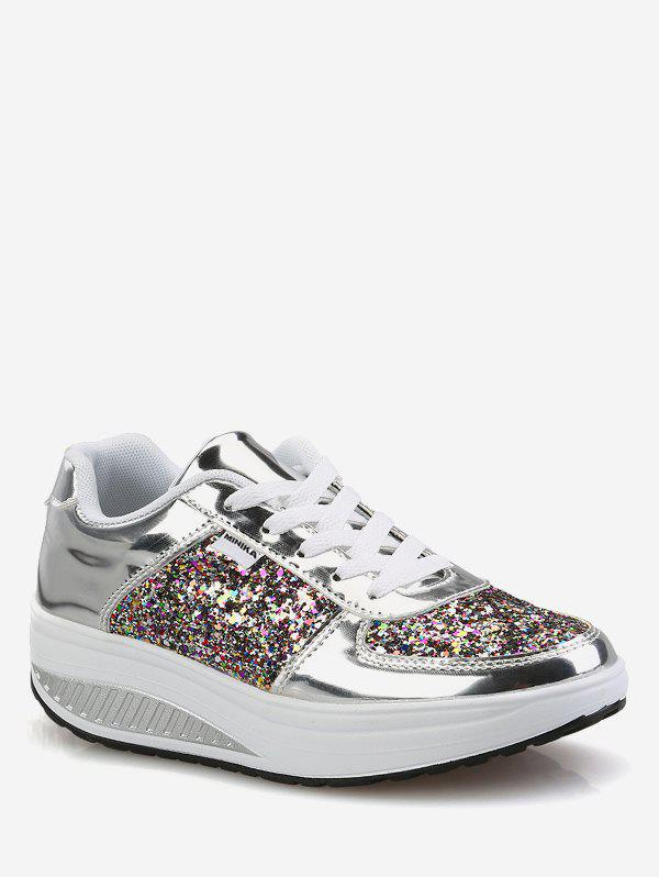 Shops Sequined Patch Platform Running Sneakers