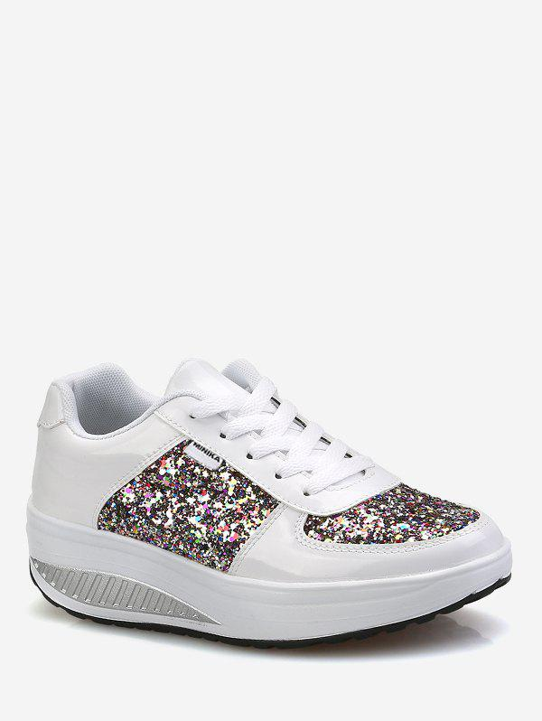 Online Sequined Patch Platform Running Sneakers