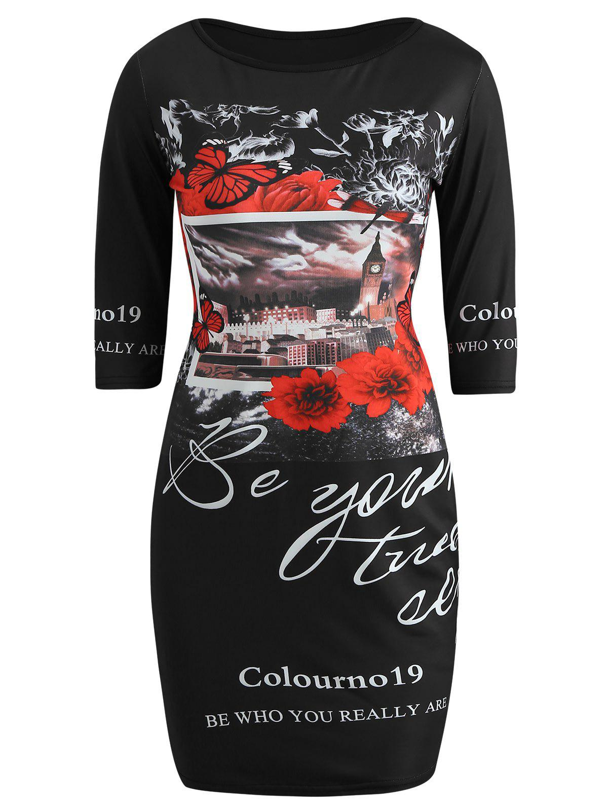 Discount Graphic Print Half Sleeve Mini Dress