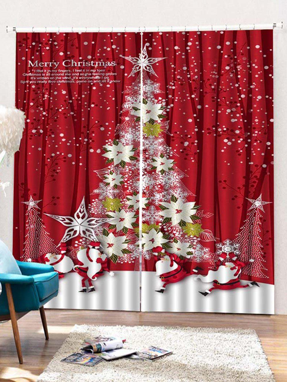 Outfit 2 Panels Christmas Floral Tree Print Window Curtains
