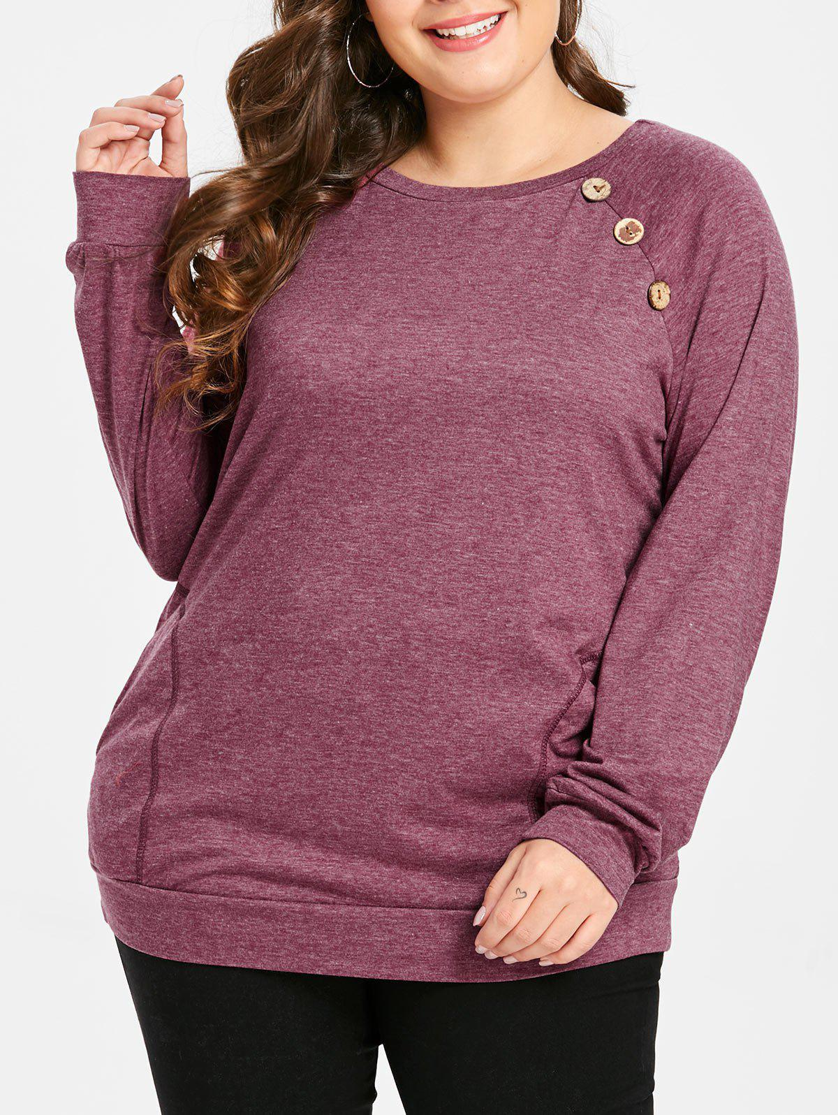 Store Round Neck Plus Size Button Detail T-shirt