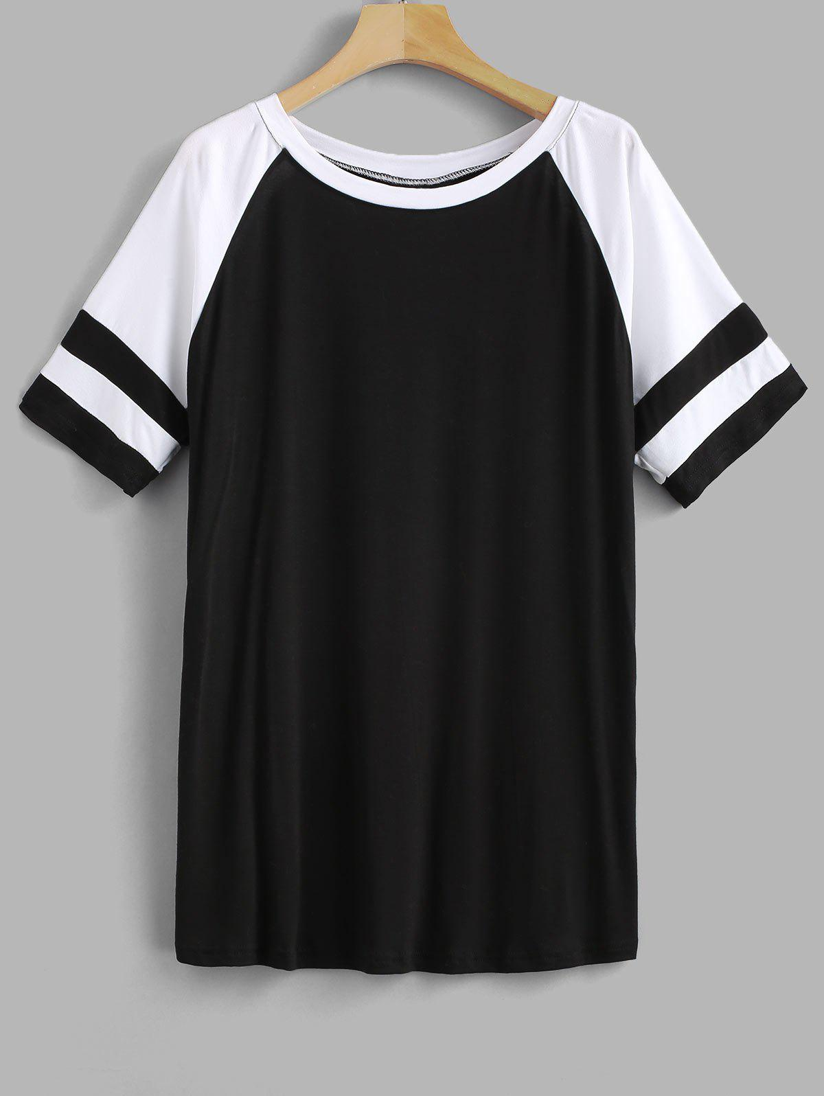 Discount Striped Panel Plus Size Raglan Sleeve T-shirt