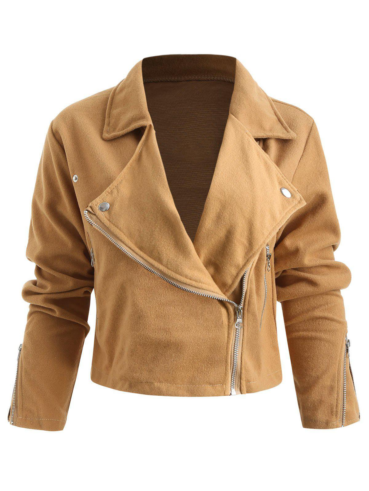 Shops Zipped Lapel Collar Jacket