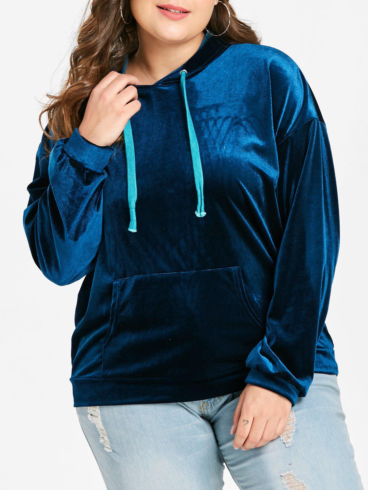 Fancy Plus Size Pullover Velvet Hoodie with Front Pocket