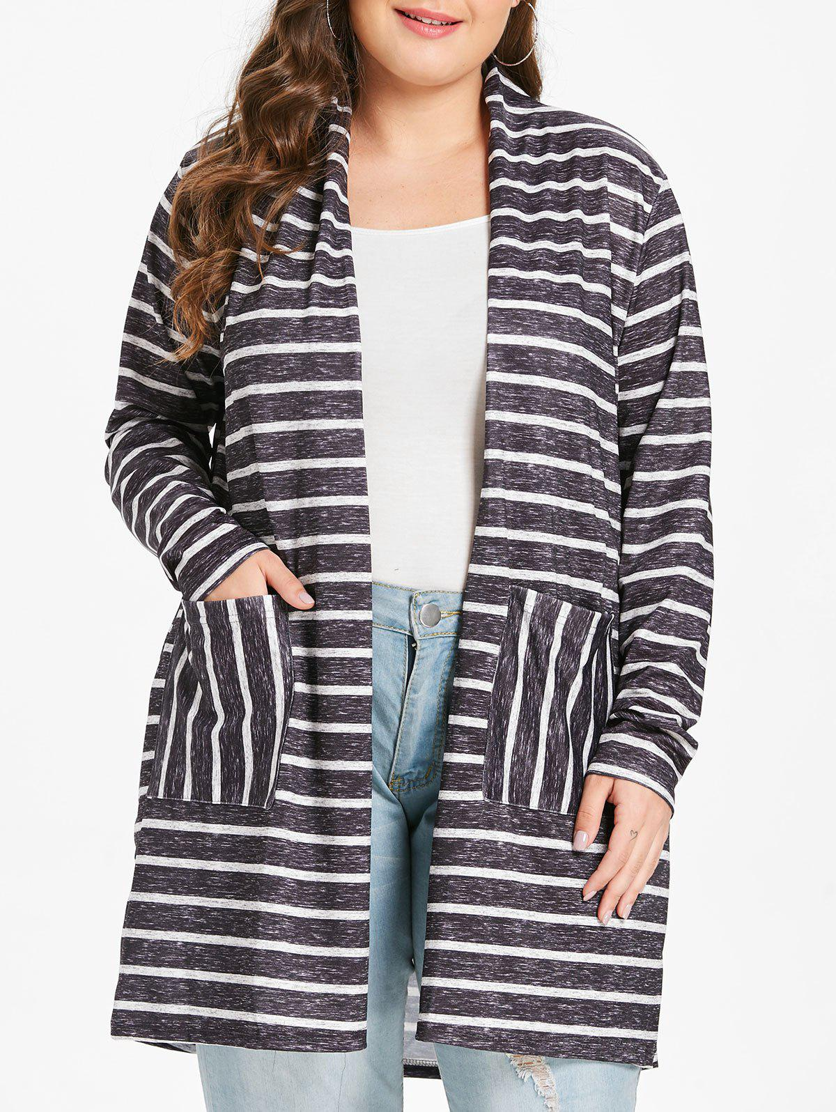 Affordable Plus Size Collarless Striped Tunic Coat