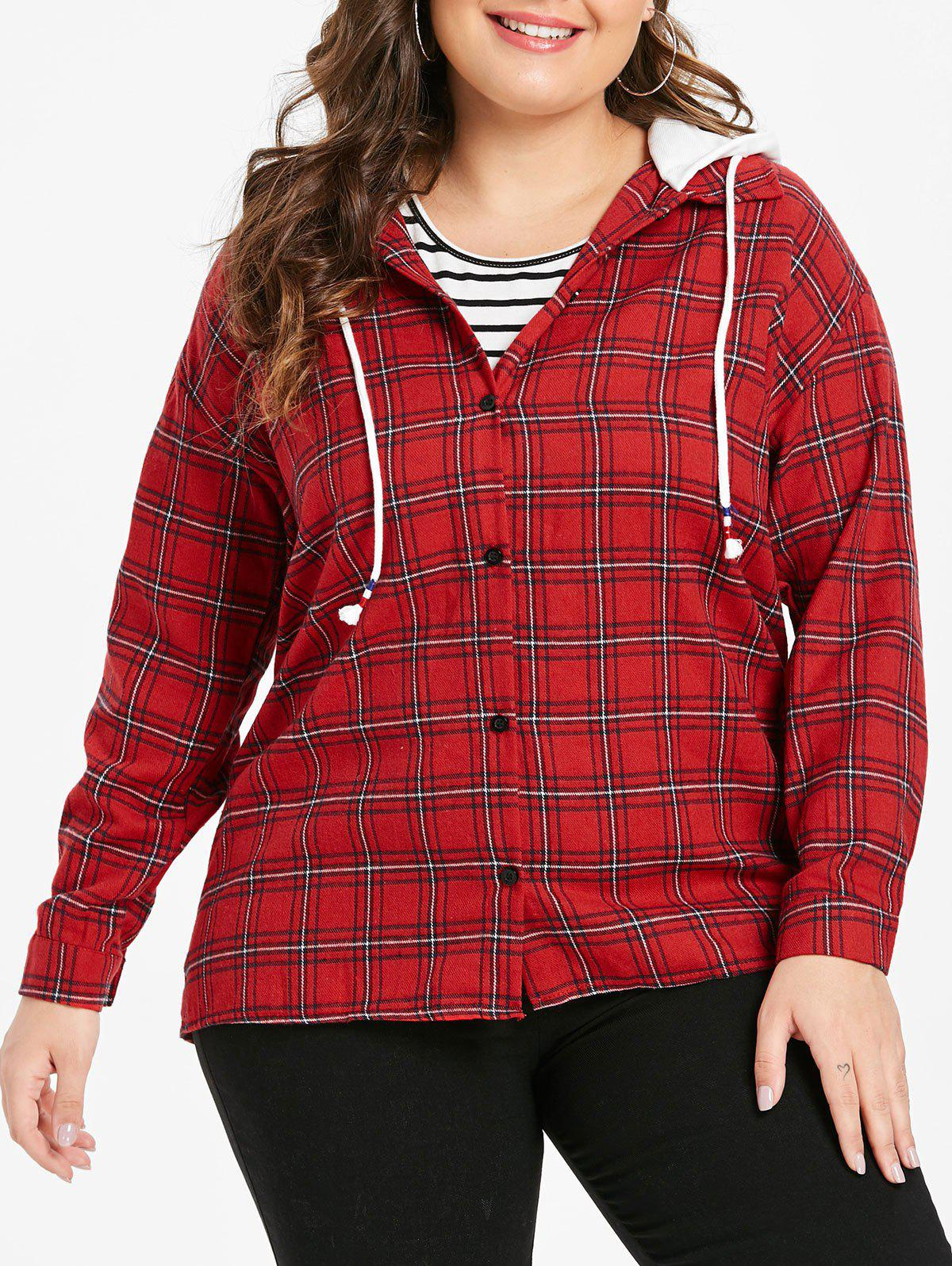 Fancy Plus Size Plaid Long Sleeves Hooded Jacket