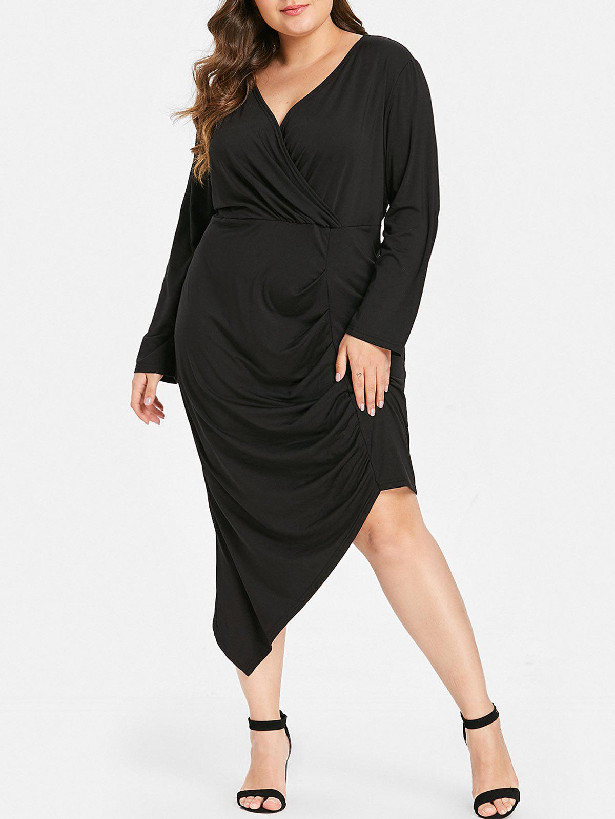 Hot Plus Size Long Sleeves Asymmetric Bodycon Dress