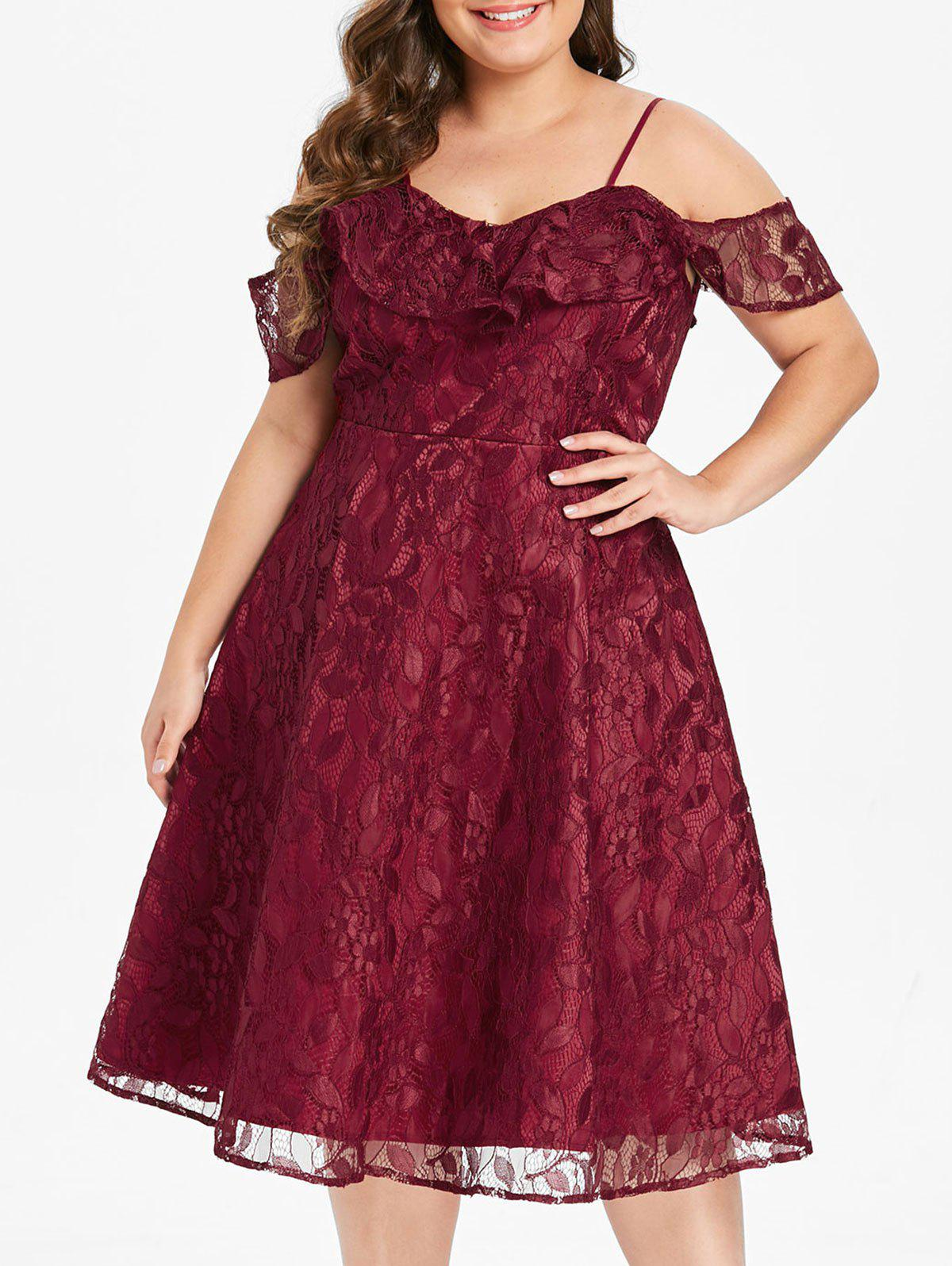 Fancy Plus Size Flounce Lace Fit and Flare Dress