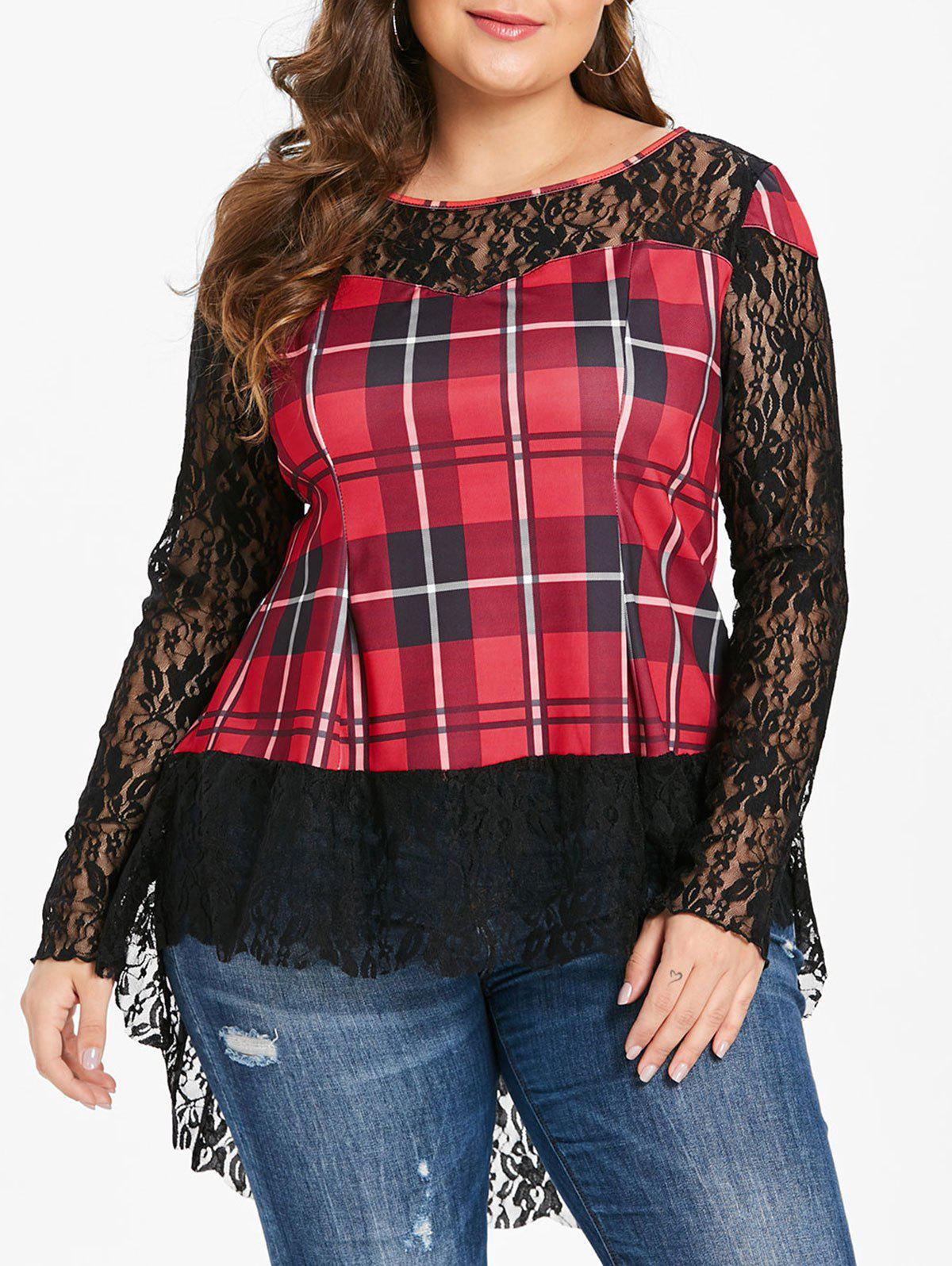 Latest Tartan Print Plus Size Lace Long Sleeve T-shirt