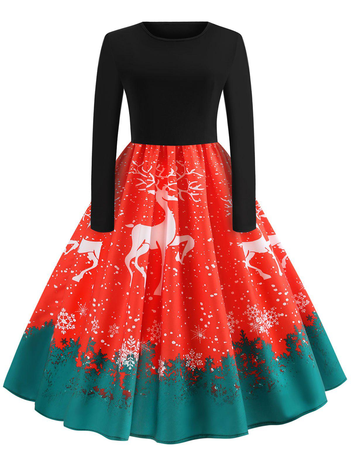 Chic Vintage Reindeer Snowflake Print Christmas Dress