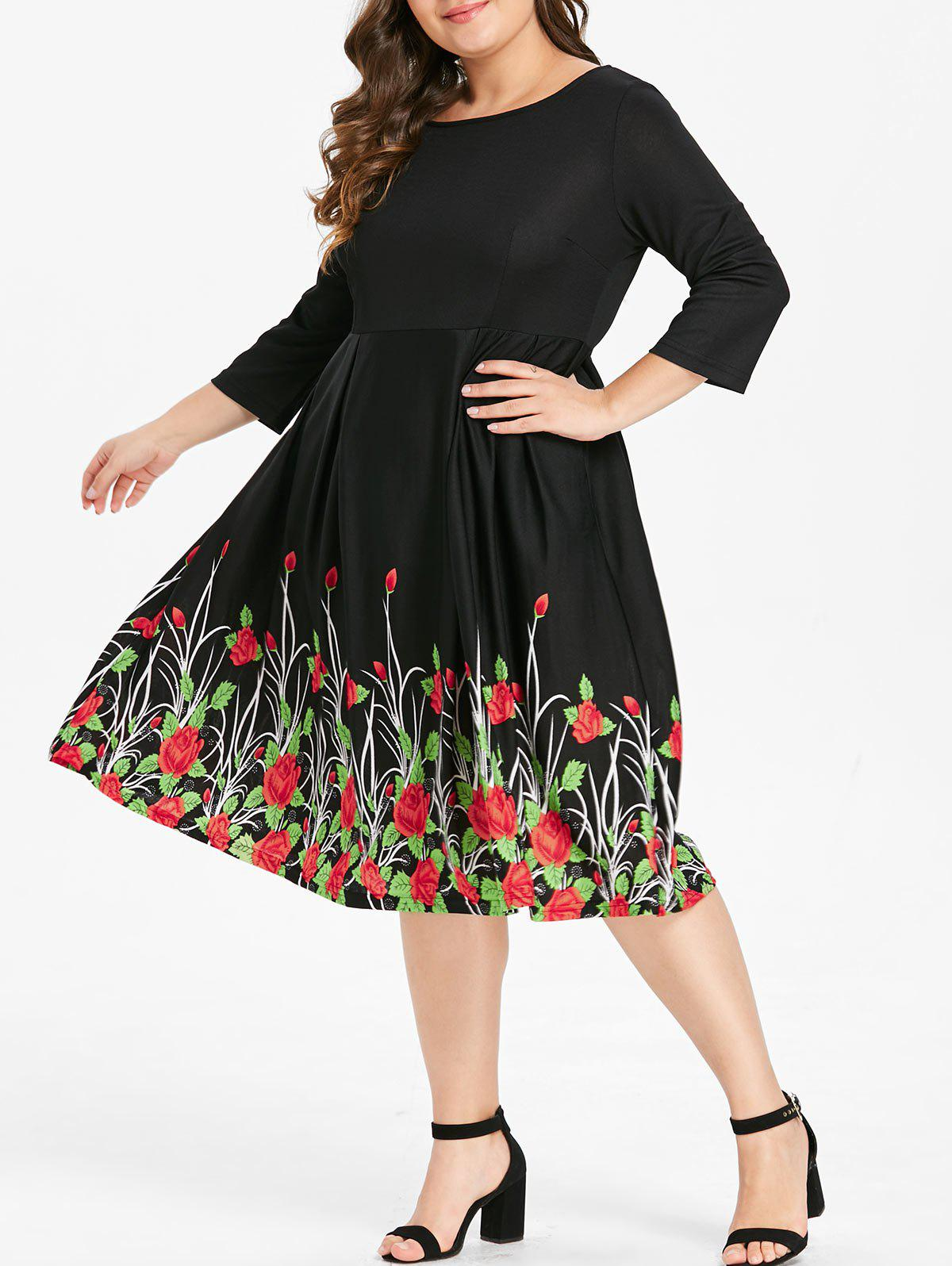 Outfit Plus Size Floral Print Flare Dress