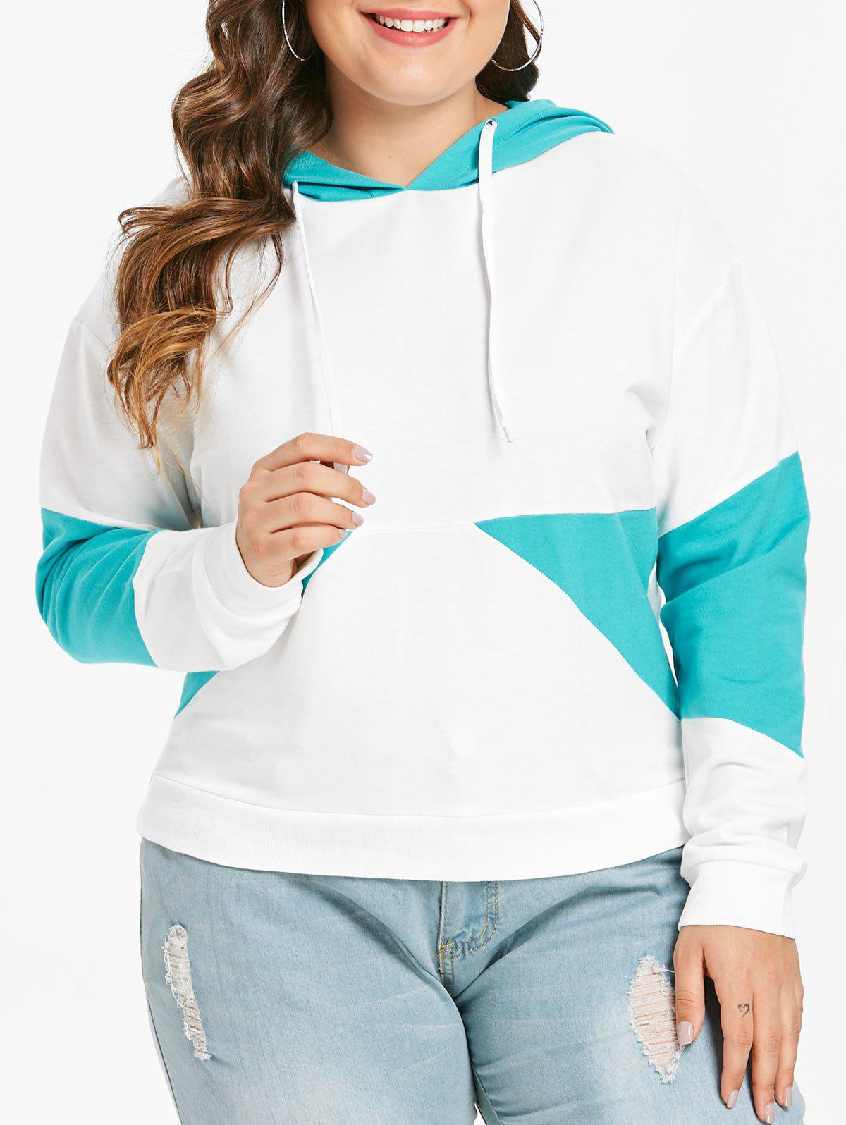 Shop Plus Size Two Tone Pullover Hoodie