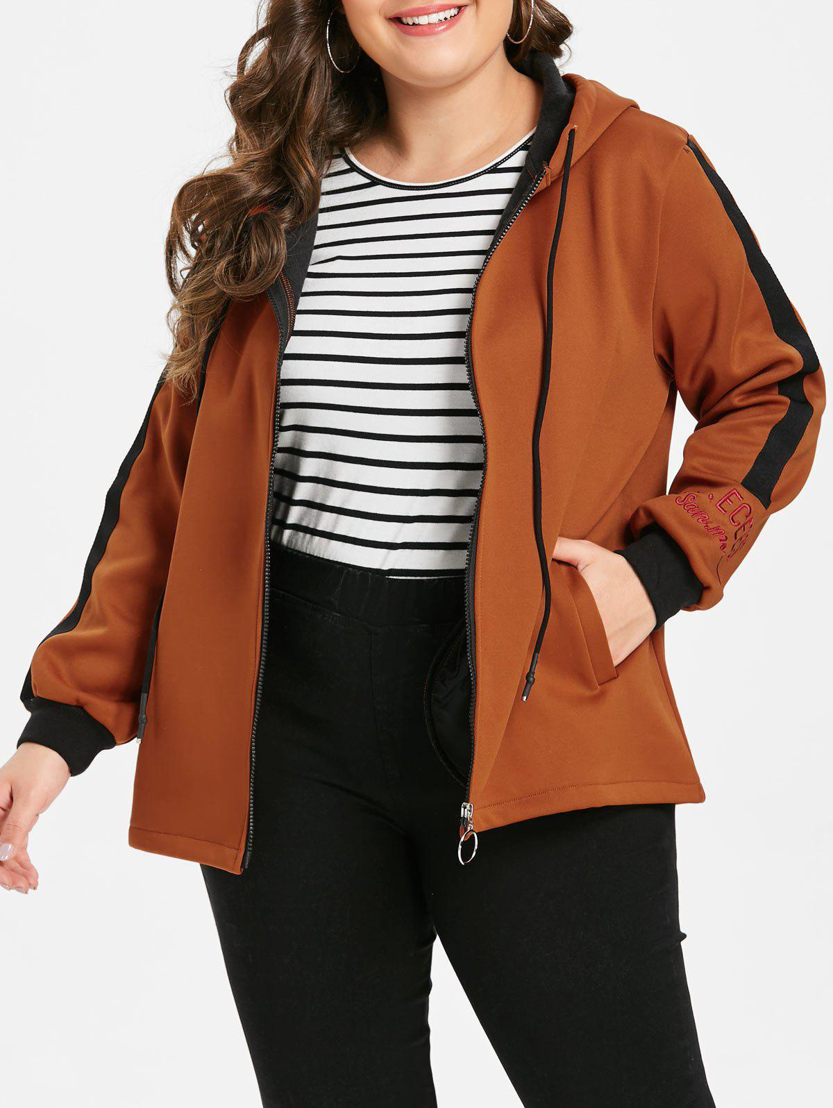 Latest Plus Size Embroidered Two Tone Fleece Jacket