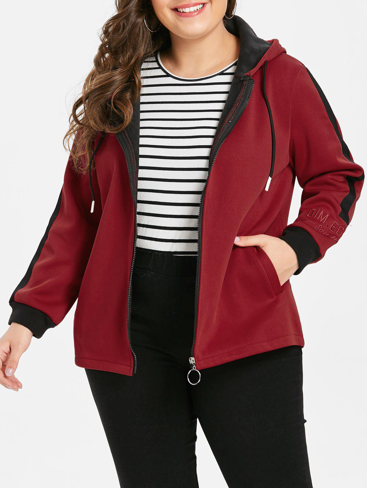 Online Plus Size Embroidered Two Tone Fleece Jacket