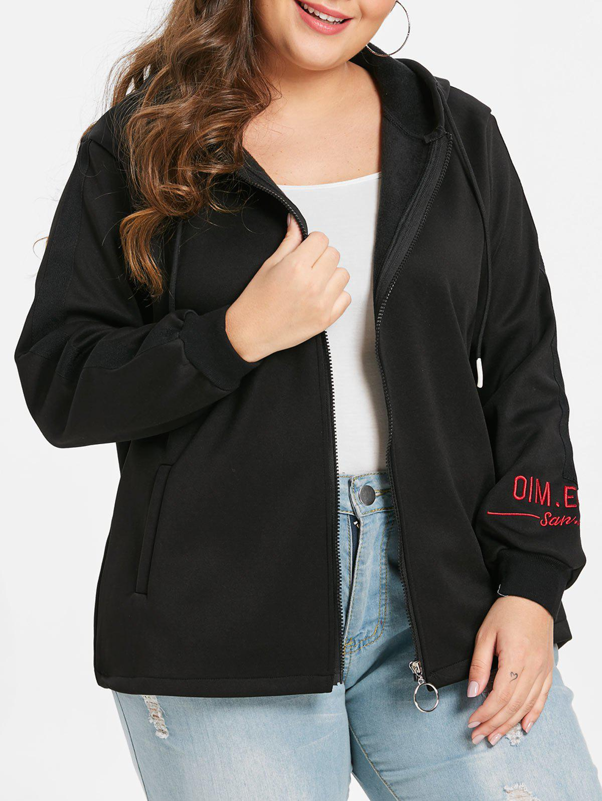 Outfits Plus Size Embroidered Two Tone Fleece Jacket