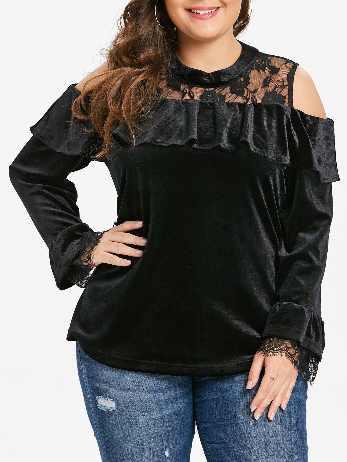 Hot Plus Size Flounce Velvet Tee with Lace