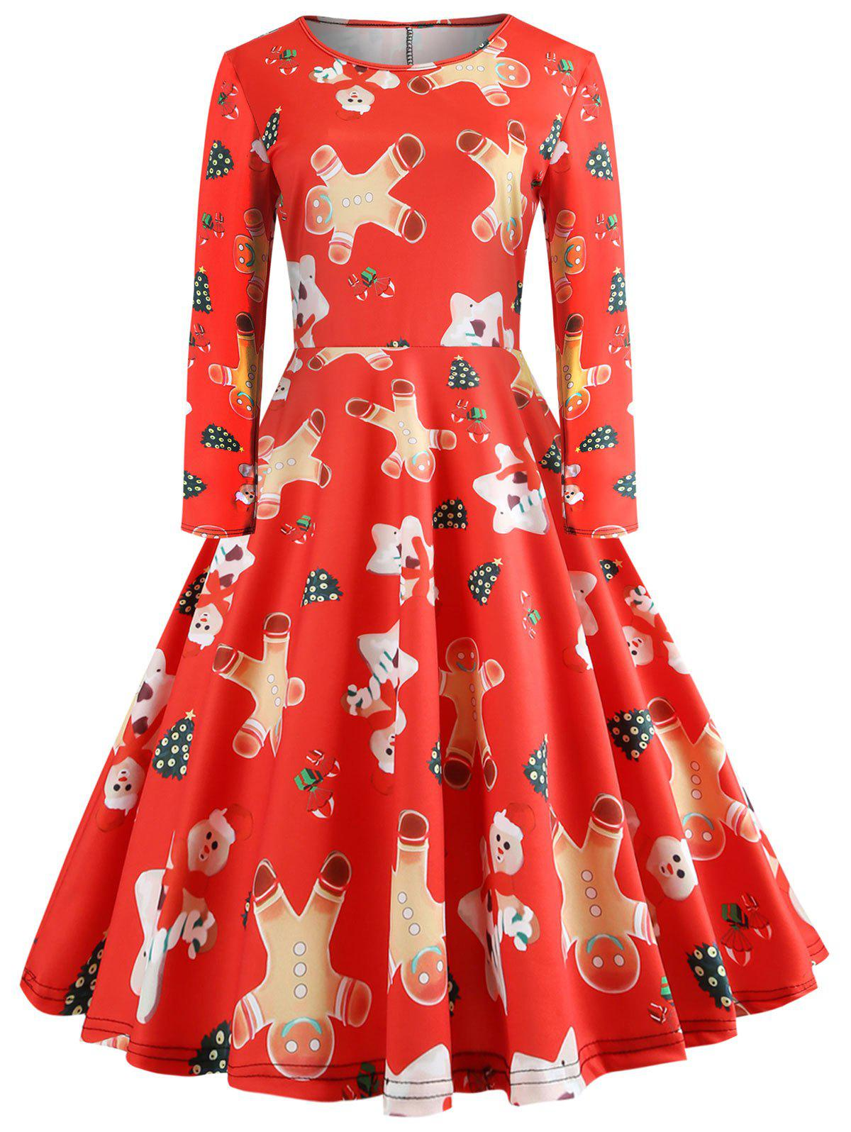Hot Christmas Cookies Print A Line Dress
