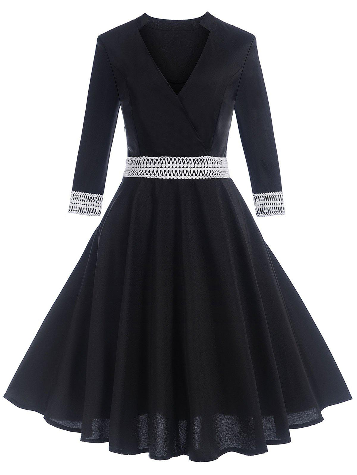 Unique Vintage Contrast Trim Pin Up Dress