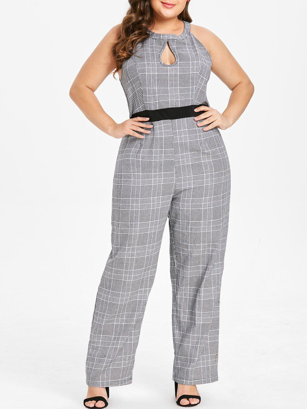 Fashion Plus Size High Waisted Plaid Keyhole Jumpsuit