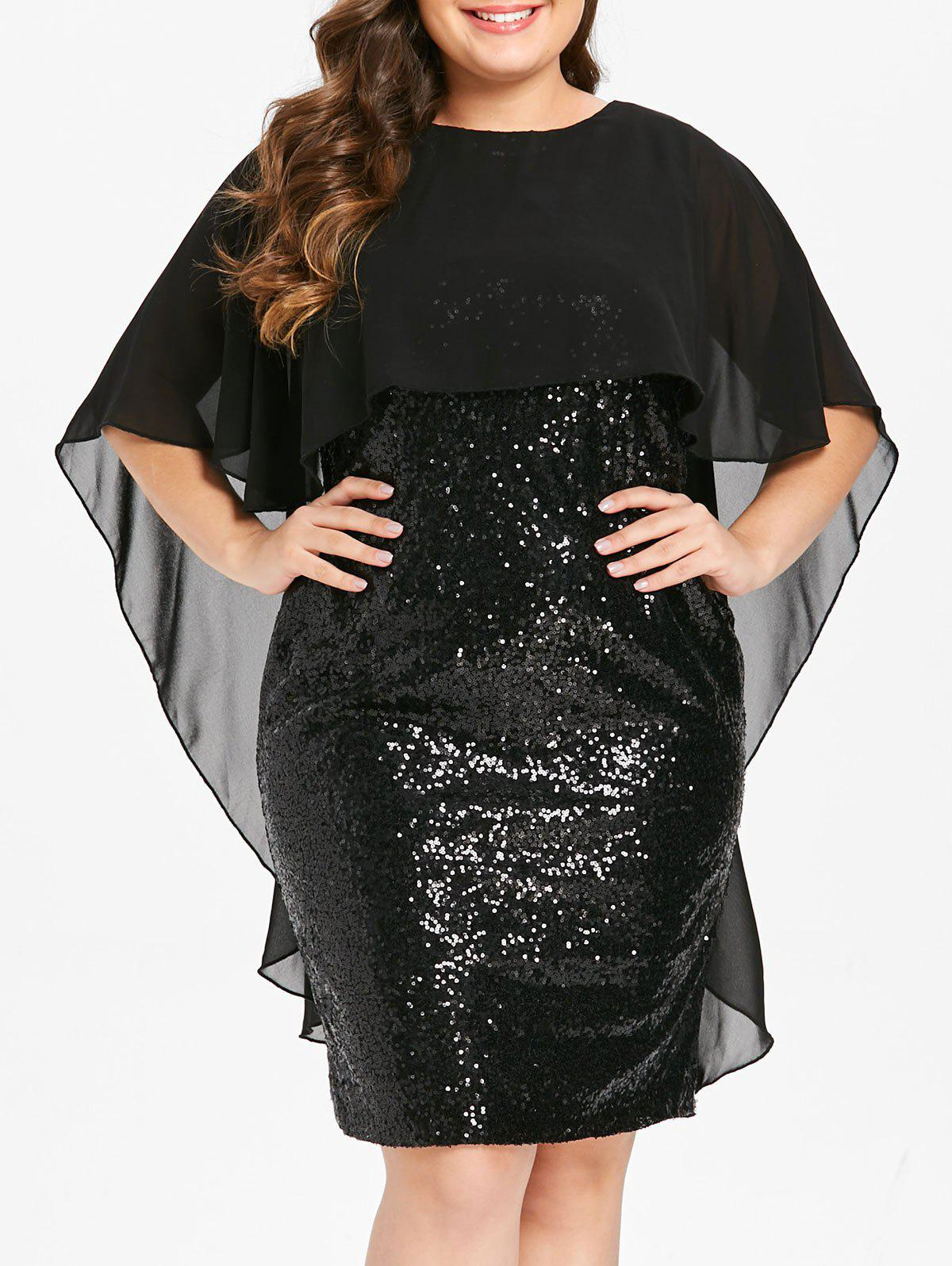 Best Plus Size Capelet Bodycon Sequin Party Dress with Slit