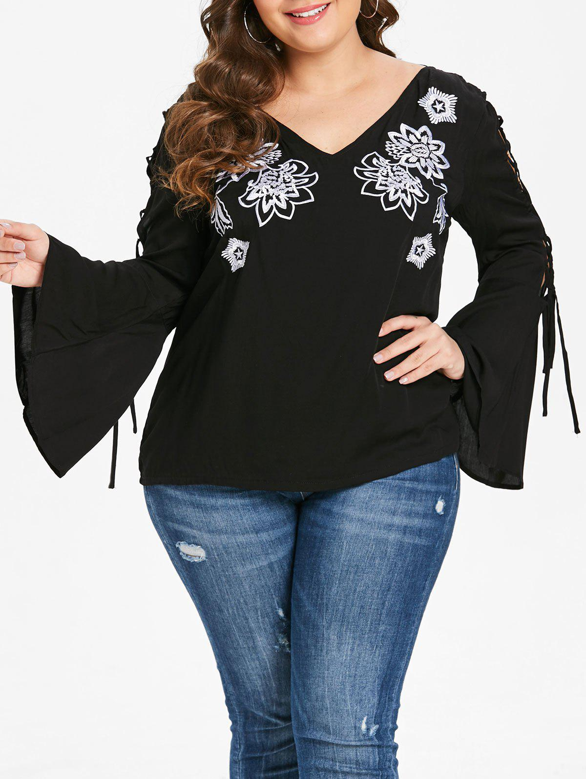 Best Plus Size Embroidered V Neck Tee with Lace Up