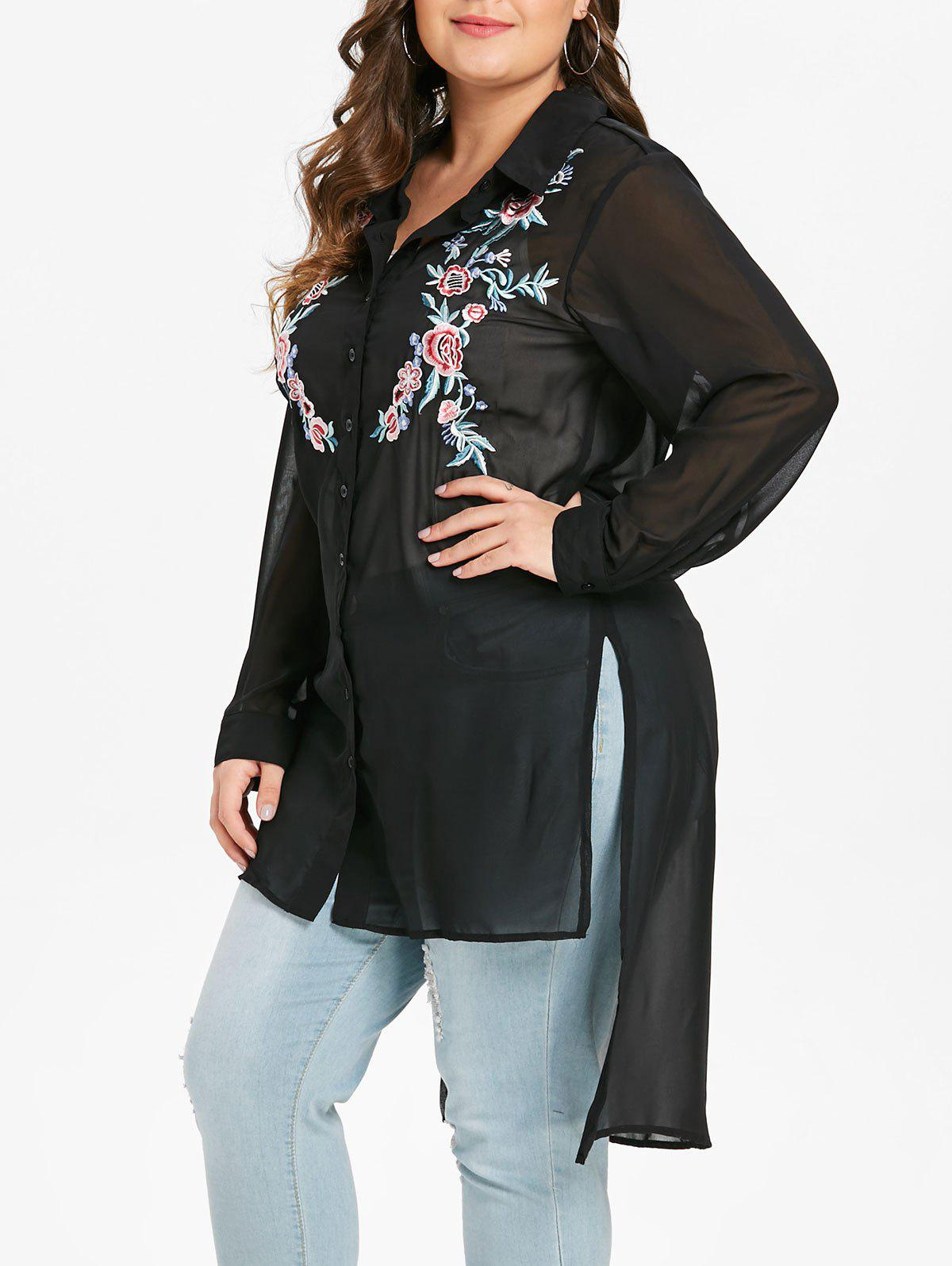 Cheap Plus Size Floral Embroidered Slit Asymmetric Tunic Top