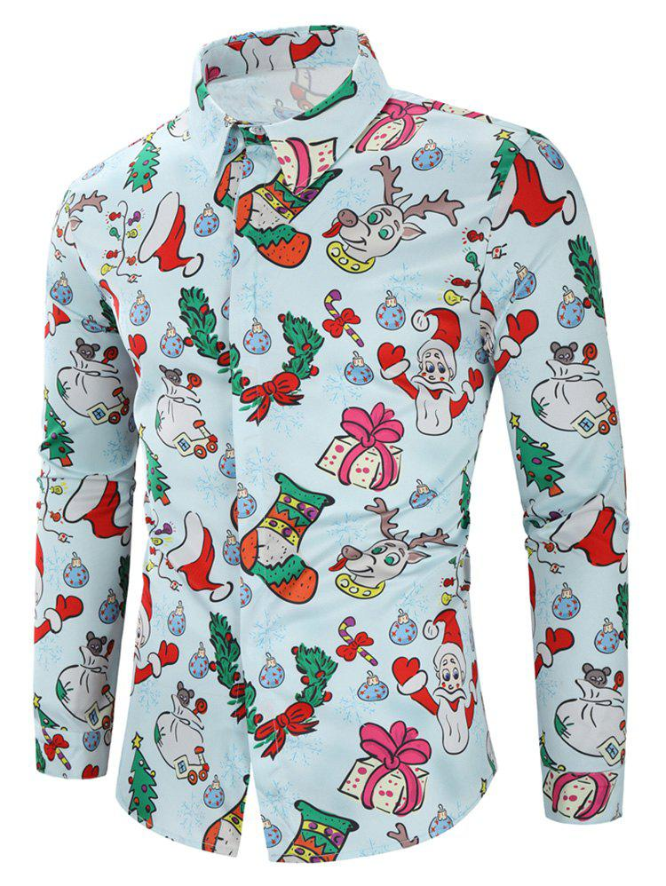 Online Christmas Santa Candy Gift Print Long Sleeves Shirt