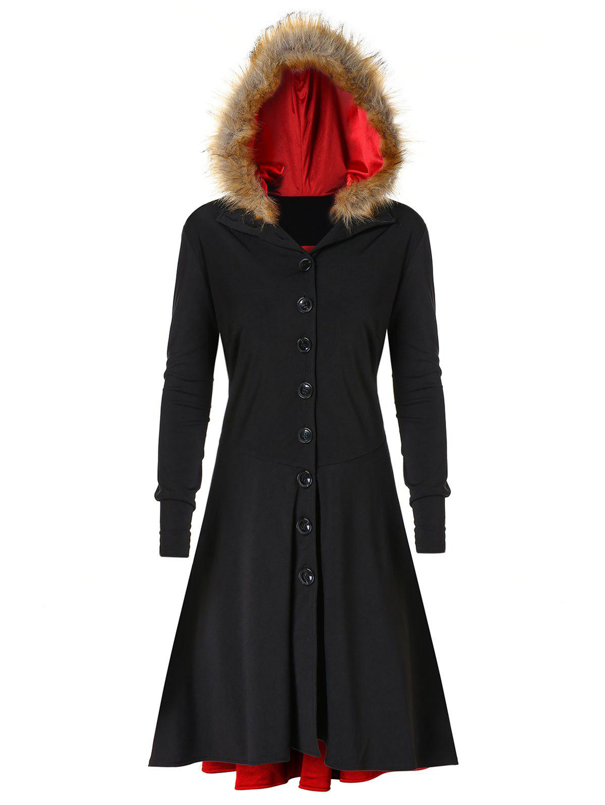 Buy Plus Size Lace UP Fuzzy Hooded Coat