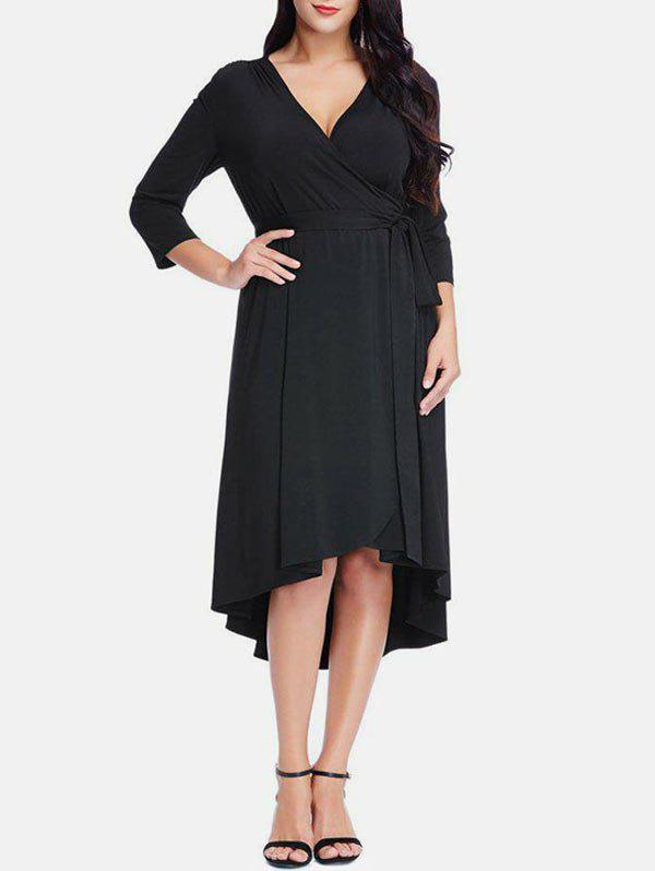 Hot Plus Size Asymmetrical Midi Surplice Dress