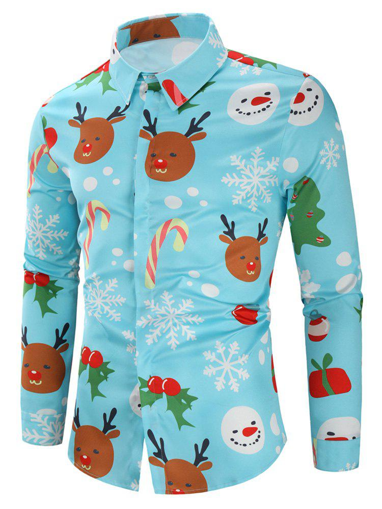 Affordable Christmas Candy Snowflakes Elk Print Casual Shirt