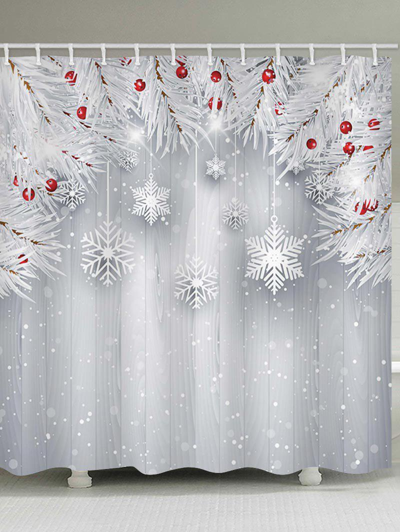 Christmas Snowflake Wooden Waterproof Shower Curtain