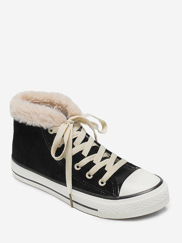 Affordable Lacing High Top Faux Fur Sneakers