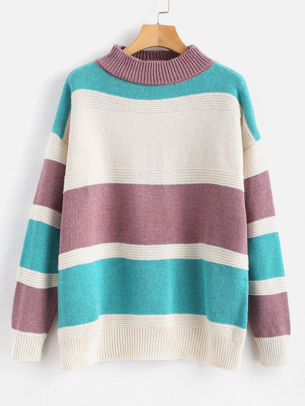 New Plus Size Color Block Drop Shoulder Sweater