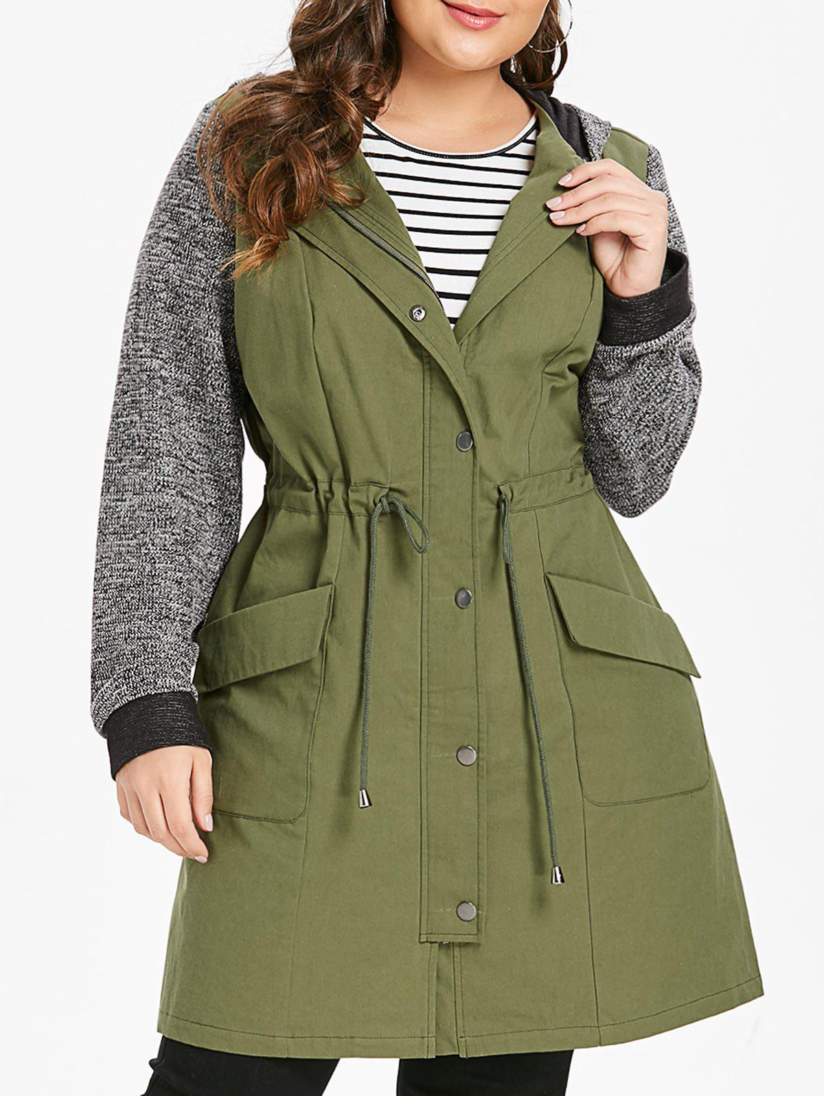 Trendy Plus Size Longline Hooded Coat with Drawstring Waist