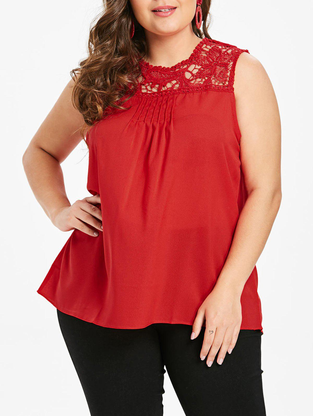 Best Plus Size Solid Color Tank Top with Lace
