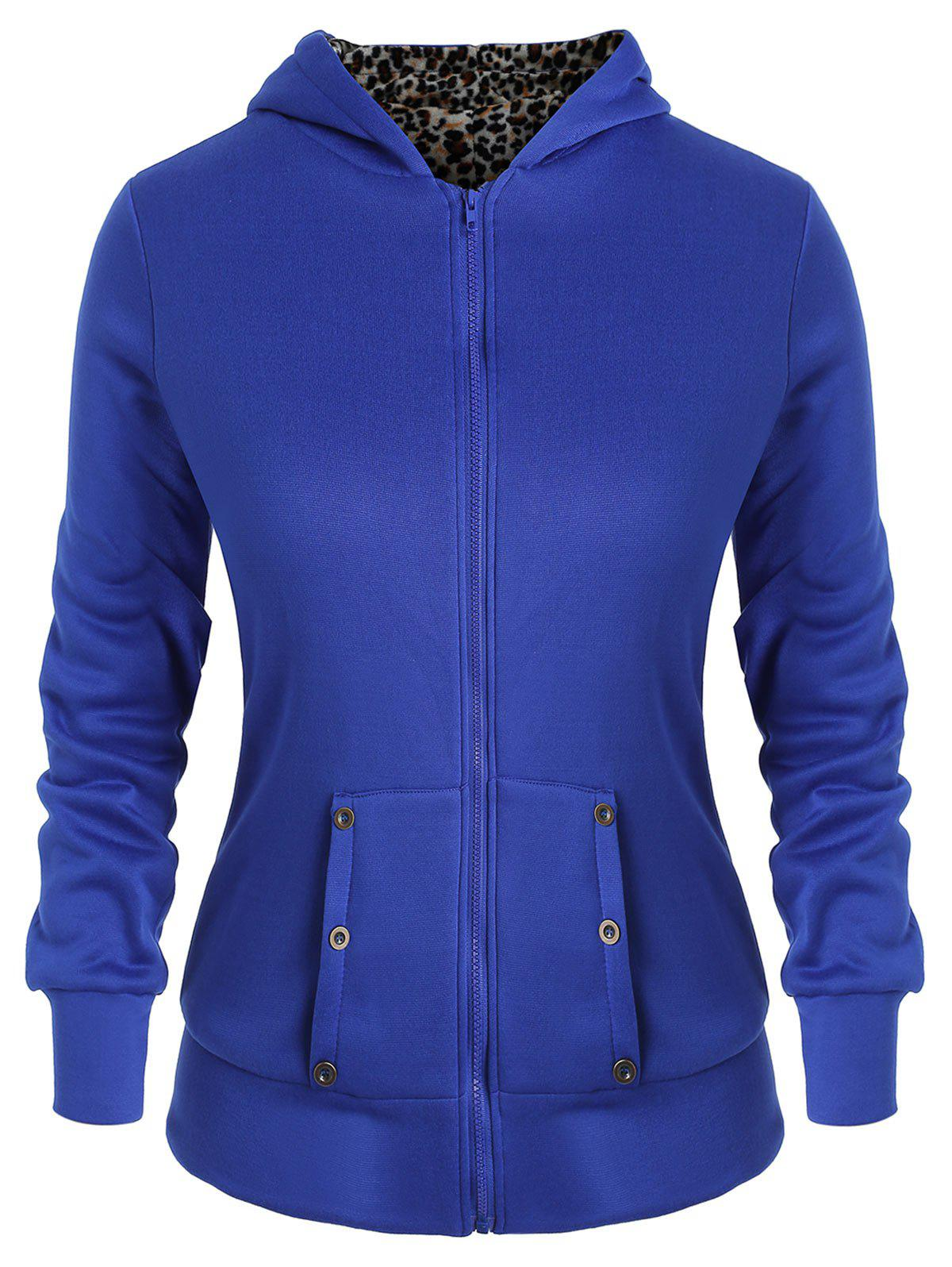 Unique Plus Size Zipper Fly Fleece Hoodie with Pocket