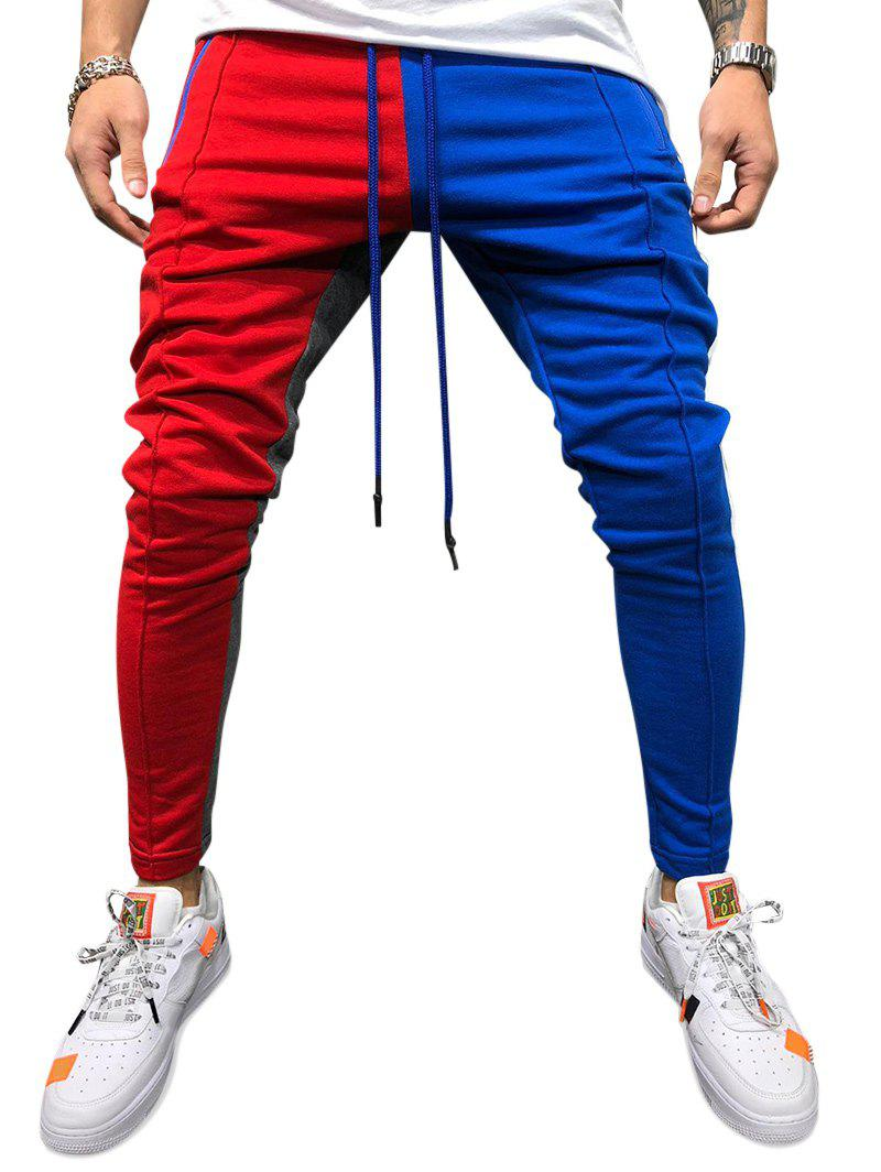 Trendy Color Block Pockets Drawstring Slim Fit Track Pants