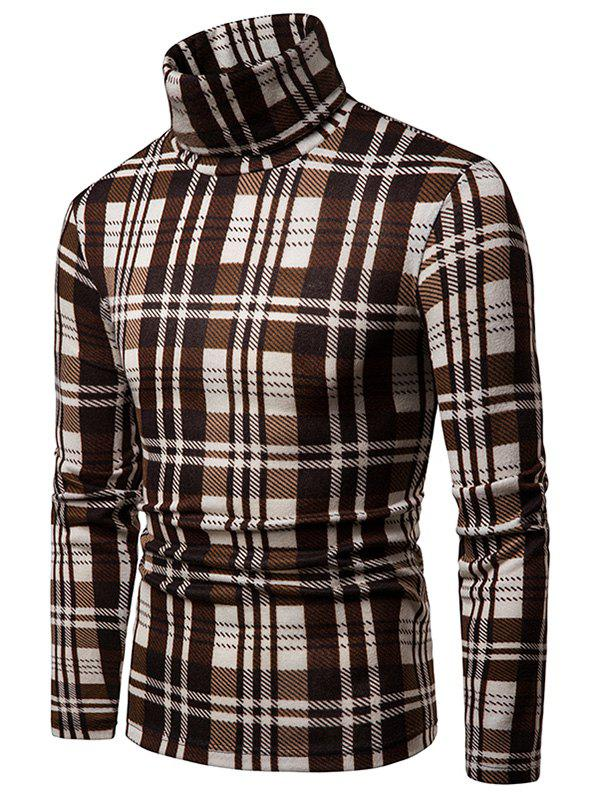 Trendy Plaid High Collar Long Sleeve Sweater