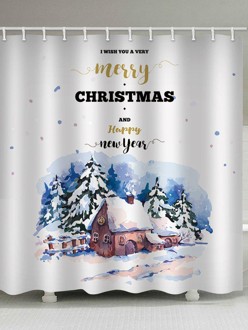 Cheap Christmas Blessing Print Waterproof Bathroom Shower Curtain