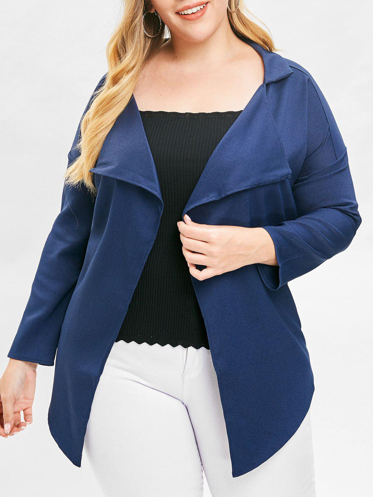 Discount Plus Size Open Front Asymmetric Jacket