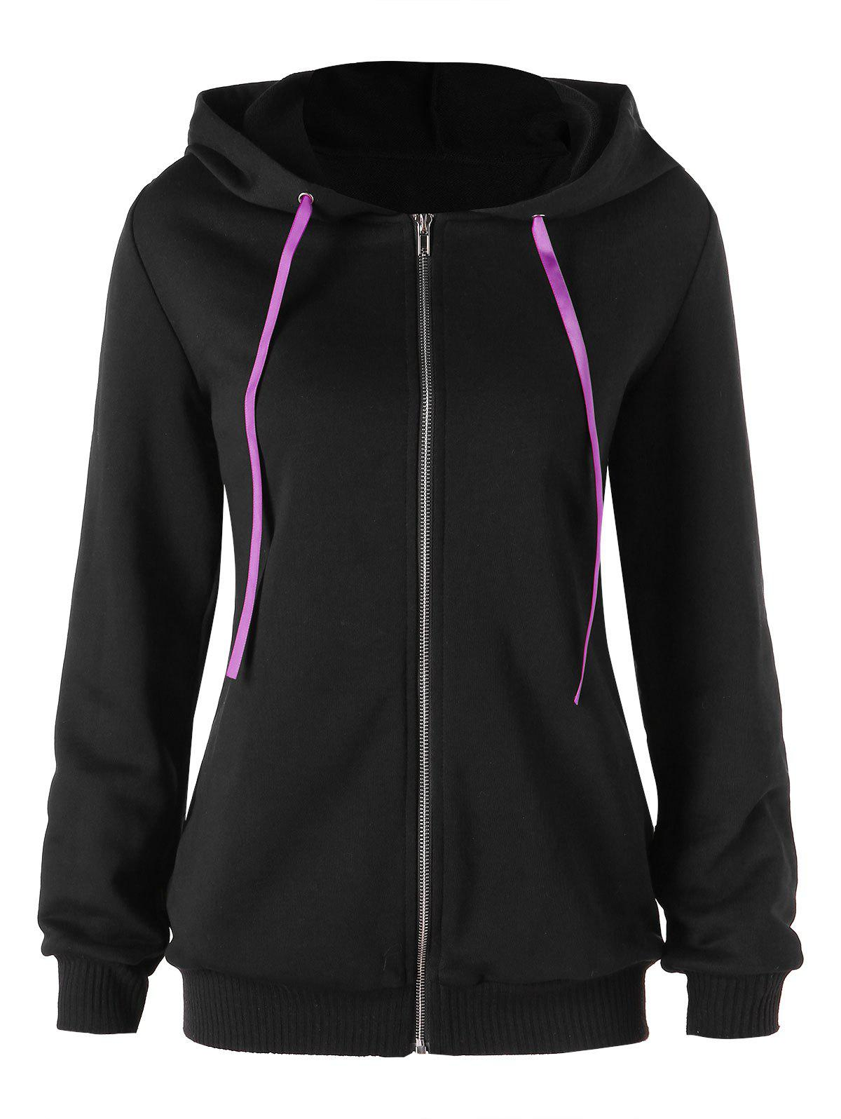 Chic Contrast Lace Up Zip Up Hoodie
