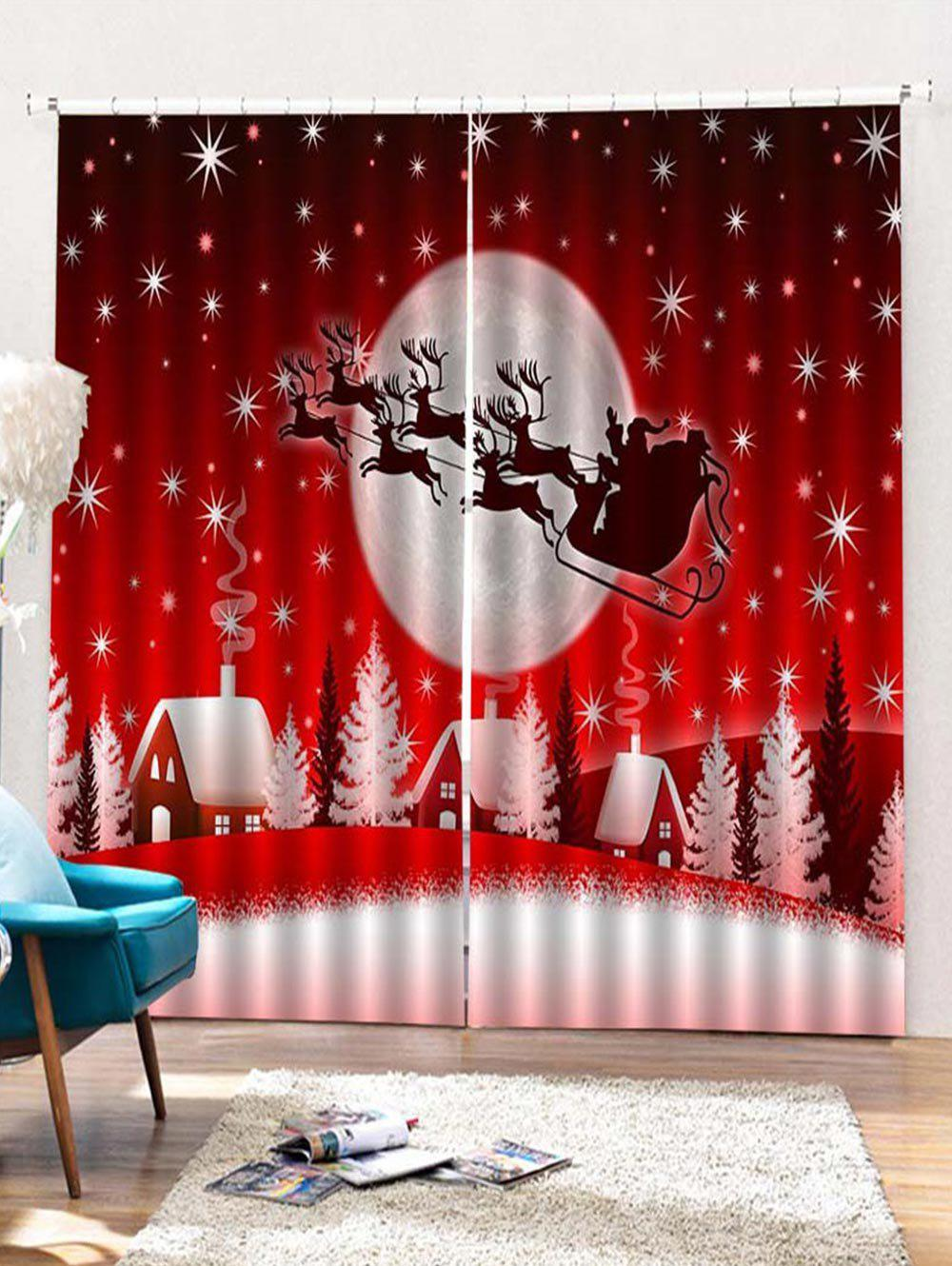 Hot 2PCS Father Christmas Deer Night Window Curtains