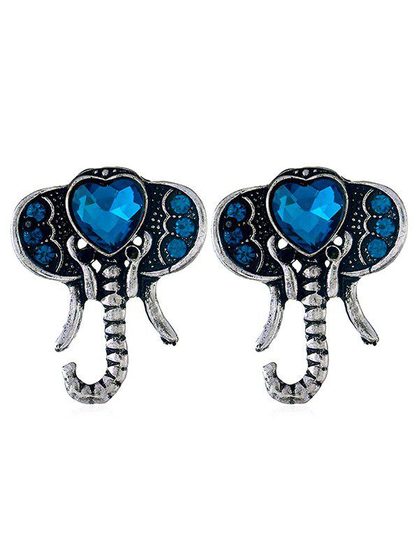 Latest Faux Sapphire Elephant Stud Earrings