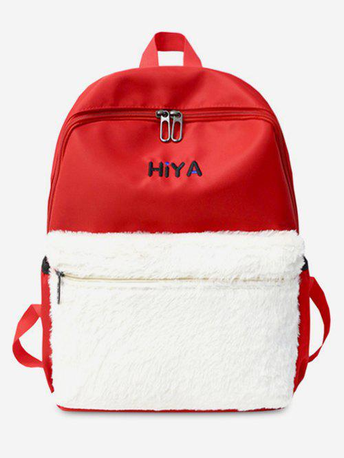 Cheap Plush Leather Letter Printed School Backpack